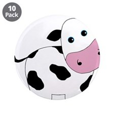 """Cute Black and White Cow 3.5"""" Button (10 pack)"""