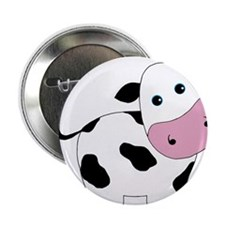 """Cute Black and White Cow 2.25"""" Button"""