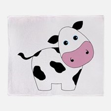 Cute Black and White Cow Throw Blanket