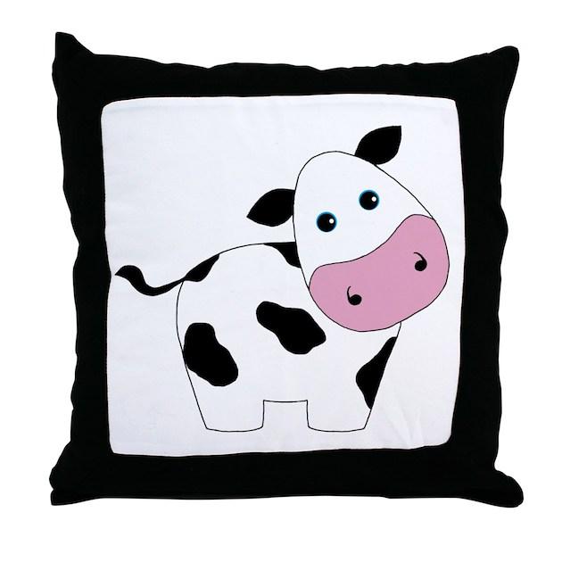 Cute Black Pillows : Cute Black and White Cow Throw Pillow by Testingtesttess