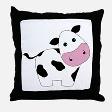 Cute Black and White Cow Throw Pillow