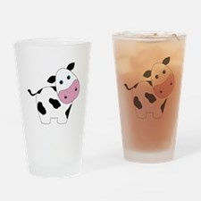 Cute Black and White Cow Drinking Glass