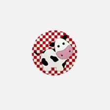 Cute Cow on Red and White Mini Button
