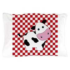 Cute Cow on Red and White Pillow Case