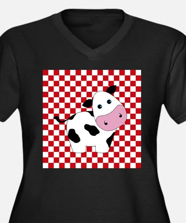 Cute Cow on Red and White Plus Size T-Shirt