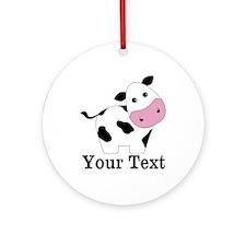 Personalizable Black White Cow Ornament (Round)