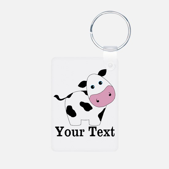 Personalizable Black White Cow Keychains
