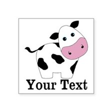 Personalizable Black White Cow Sticker