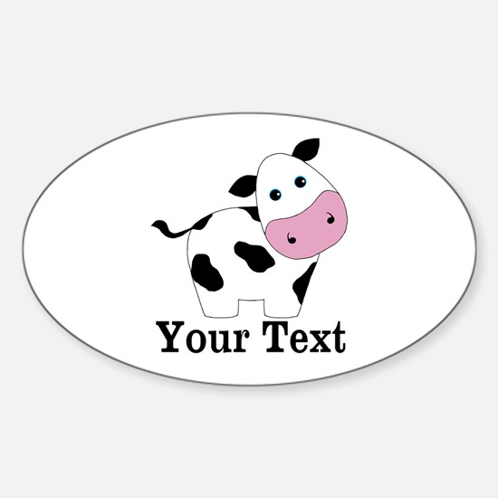 Personalizable Black White Cow Decal