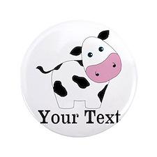 "Personalizable Black White Cow 3.5"" Button (100 pa"