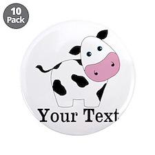 "Personalizable Black White Cow 3.5"" Button (10 pac"