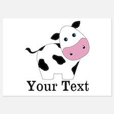 Personalizable Black White Cow Invitations