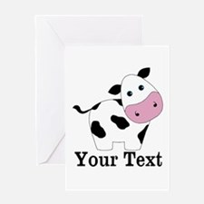 Personalizable Black White Cow Greeting Cards