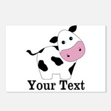 Personalizable Black White Cow Postcards (Package