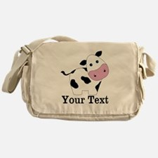 Personalizable Black White Cow Messenger Bag