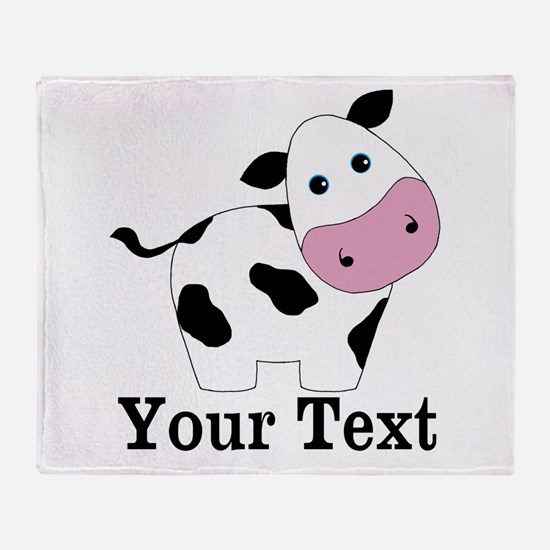Personalizable Black White Cow Throw Blanket