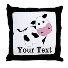 Personalizable Black White Cow Throw Pillow