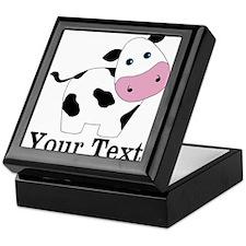 Personalizable Black White Cow Keepsake Box