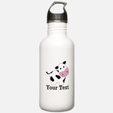 Personalizable Black White Cow Water Bottle