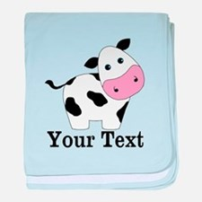 Personalizable Black White Cow baby blanket