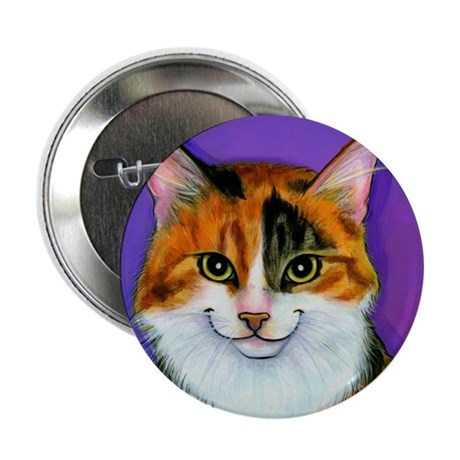 Calico Cat Button