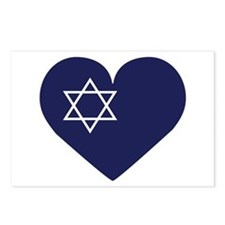 Blue Hart with Magen David Postcards (Package of 8