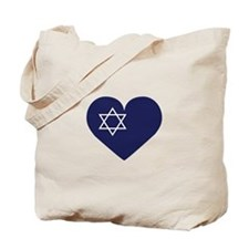 Blue Hart with Magen David Tote Bag