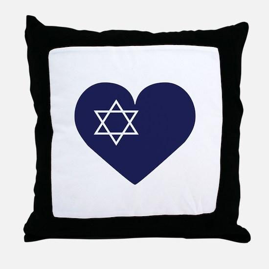 Blue Hart with Magen David Throw Pillow