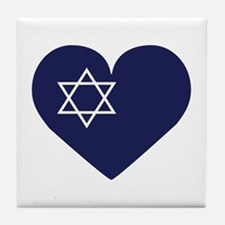 Blue Hart with Magen David Tile Coaster