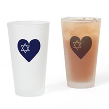 Blue Hart with Magen David Drinking Glass