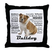 Bulldog Traits Throw Pillow