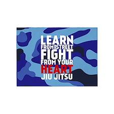 Learn Jiu Jitsu Red - Blue Camouflage 5'x7'Area Ru