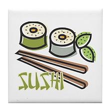 Cool Artsy Sushi Design Tile Coaster
