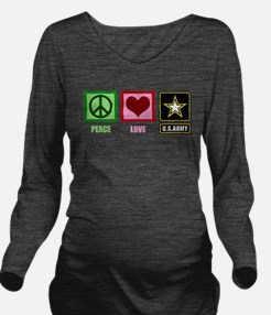 Peace Love Army Long Sleeve Maternity T-Shirt