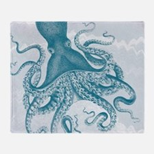 Funny Vintage octopus Throw Blanket