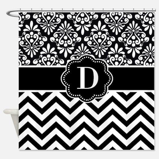 Black White Damask Chevron Monogram Shower Curtain