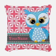 Beautiful Teal Owl Personalize Woven Throw Pillow