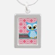 Beautiful Teal Owl Perso Silver Portrait Necklace