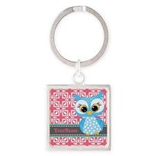 Beautiful Teal Owl Personalized Square Keychain