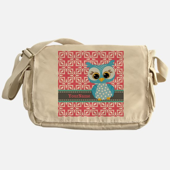 Beautiful Teal Owl Personalized Messenger Bag