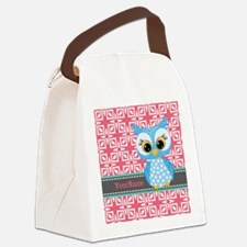 Beautiful Teal Owl Personalized Canvas Lunch Bag