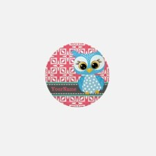 Beautiful Teal Owl Personalized Mini Button
