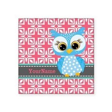 "Beautiful Teal Owl Personal Square Sticker 3"" x 3"""