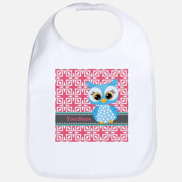 Beautiful Teal Owl Personalized Bib