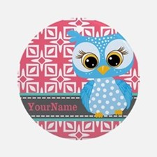 Beautiful Teal Owl Personalized Ornament (Round)