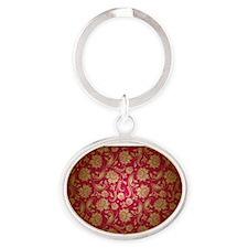 Cute Burgundy Oval Keychain