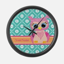 Cute Pink Little Owl Personalized Large Wall Clock