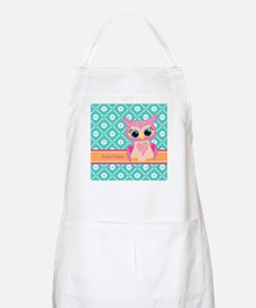 Cute Pink Little Owl Personalized Apron