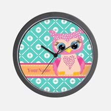 Cute Pink Little Owl Personalized Wall Clock