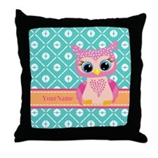 Cute Pink Little Owl Personalized Throw Pillow